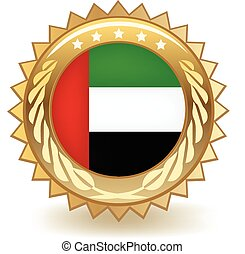 United Arab Emirates Badge - Gold badge with the flag of the...