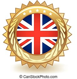 United Kingdom Badge - Gold badge with the flag of the...