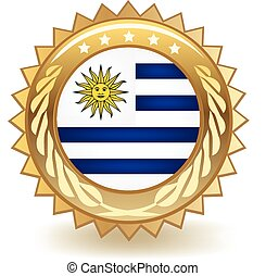 Uruguay Badge - Gold badge with the flag of Uruguay