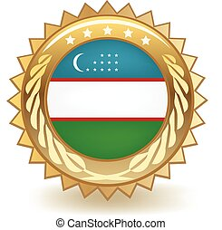 Uzbekistan Badge - Gold badge with the flag of Uzbekistan