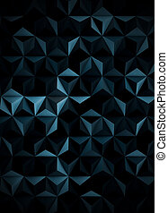 Low Poly Extra Dark Cyanotype Abstract Background - A low...