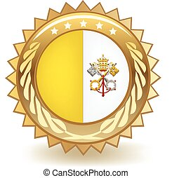 Vatican City Badge - Gold badge with the flag of Vatican...