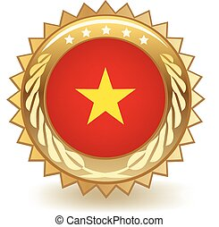 Vietnam Badge - Gold badge with the flag of Vietnam