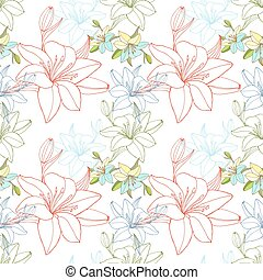 Lineart lily, seamless pattern