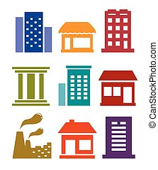 building icon set - isolated colorful building icon set on...