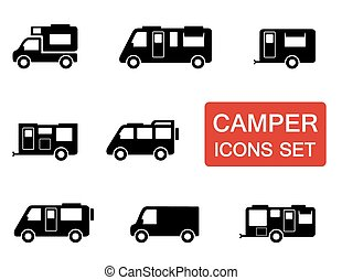 camper icon set - isolated camper icon set on white...
