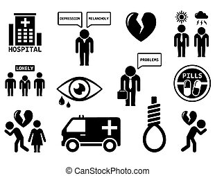emotional disorders concept icon set - isolated emotional...