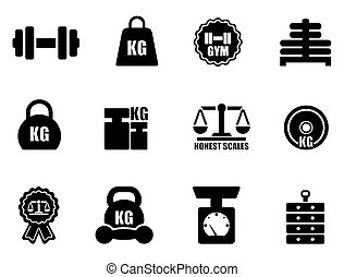 scales and weighing icon set on white background