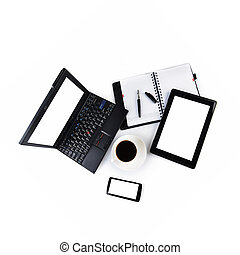notebook and cup of coffee - open notebook, mobile phone,...