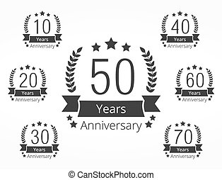 Anniversary Emblems - Set of 7 anniversary emblems, 10, 20,...