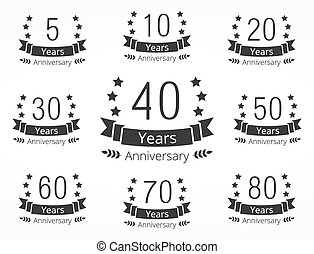 Anniversary Emblems - Set of anniversary emblems, vector...