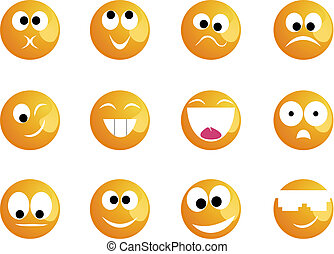 Cheerful smiles of different mood of yellow colour