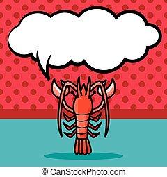 sea animal lobster doodle