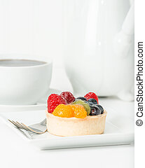 Fruit Tart - Colorful fresh fruit tart served with coffee