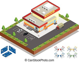 Supermarket exterior. The supermarket with parking and shopping carts. Retail trade. Vector isometric illustration.