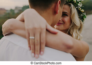 Wedding couple on the nature - romantic bride and groom on...