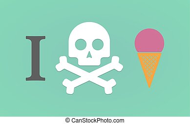 """I don't like"" hieroglyph with a cone ice cream"