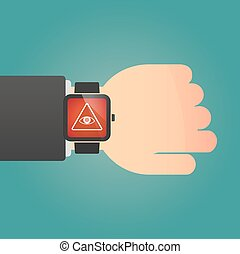 Isolated smart watch icon with an all seeing eye -...
