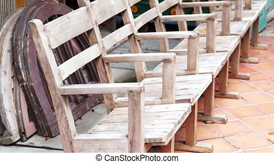 old wooden chairs in a row time - Video of old wooden chairs...