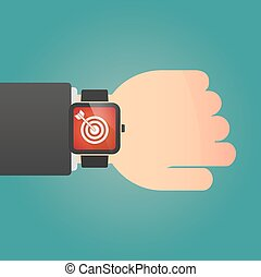 Isolated smart watch icon with a dart board - Illustration...
