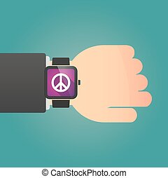 Isolated smart watch icon with a peace sign - Illustration...