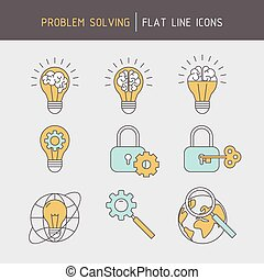 Flat line problem solving icons of ideas searching,...