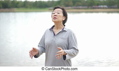 Asian Senior Elderly Practice Taich - Video of Asian Senior...