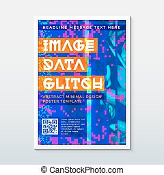 colored glitch design background poster template - vector...