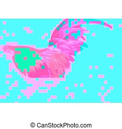 colored abstract glitch art design background - vector pink...