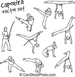 vector capoeira set - Contour silhouettes capoeira fighting...