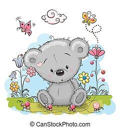 Bear with flowers - Cute Cartoon Teddy Bear with flowers and...
