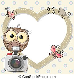 Owl with heart frame
