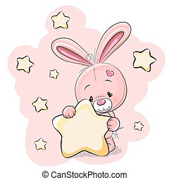 Rabbit with star - Rabbit with a star on a stars background...