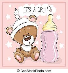 Bear girl - Cute Cartoon Teddy bear with feeding bottle