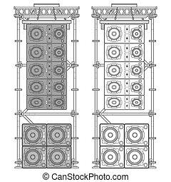 line array concert acoustics scaffold suspension...