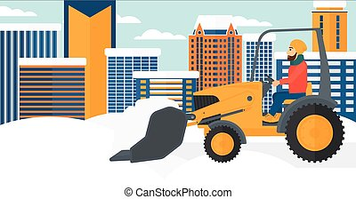 Man plowing snow - A hipster man with the beard driving a...