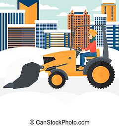 Woman plowing snow - A woman driving a bulldozer removing...