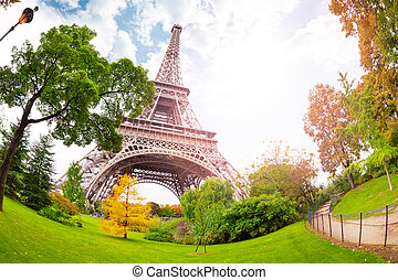 View of Eifel tower from bellow in Paris France on sunny day
