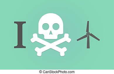 """I don't like"" hieroglyph with a wind generator"