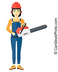 Lumberjack with chainsaw - An asian lumberjack holding a...