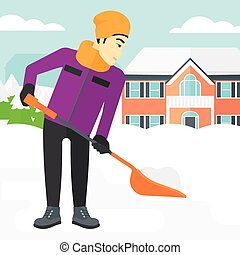 Man shoveling and removing snow. - An asian man shoveling...
