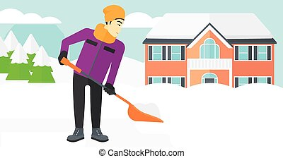 Man shoveling and removing snow - An asian man shoveling and...