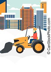 Man plowing snow - An asian man driving a bulldozer removing...