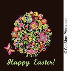 Easter card with decorative egg - Easter card with...