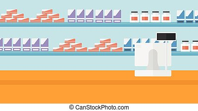 Background of pharmacy with cash box. - Background of...