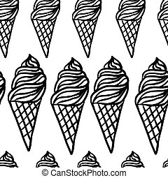 Perfect seamless pattern with ice cream cones hand drawn in...