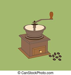 Manual Coffee Grinder Mill on the green background. Vector...