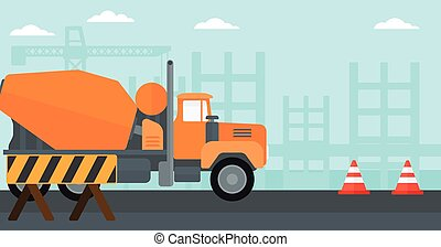 Background of concrete mixer on construction site -...