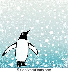 Penguin In The Snow - A snow blizzard background with a...