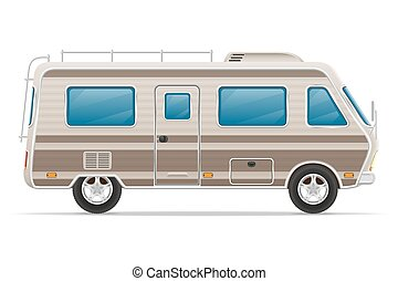 car van caravan camper mobile home vector illustration...